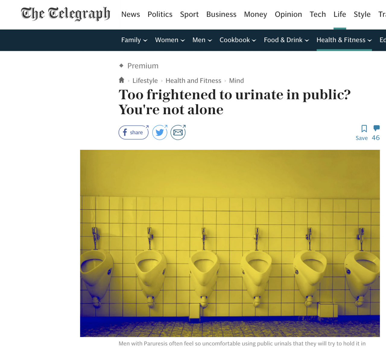 The Telegraph - Too frightened to urinate in public? You're not alone. October 2019