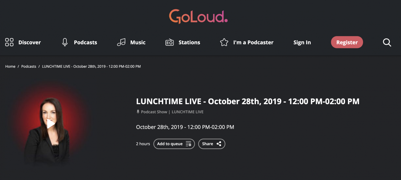 GoLoud - Podcast - October 28th 2019